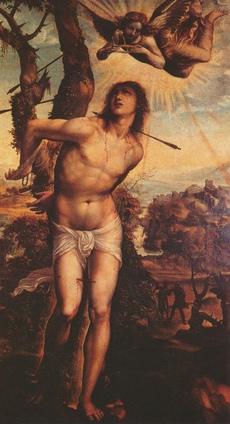 Saint Sébastien, une peinture de Giovanni Antonio Bazzi (Il Sodoma), Galerie Palatine, Florence, Cliquer sur la photo pour une vue agrandie et quelques infos