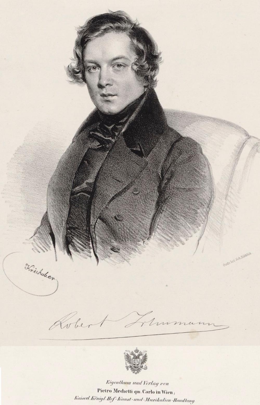 Robert Schumann, une lLithographie de Josef Kriehuber (1800-1876) éditée en 1840