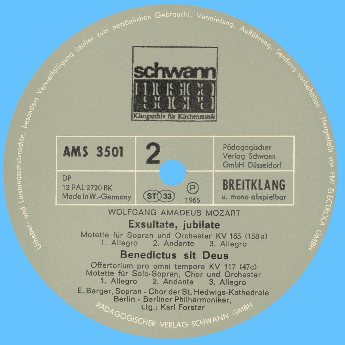 Étiquette du verso du disque EMI WALP 1517