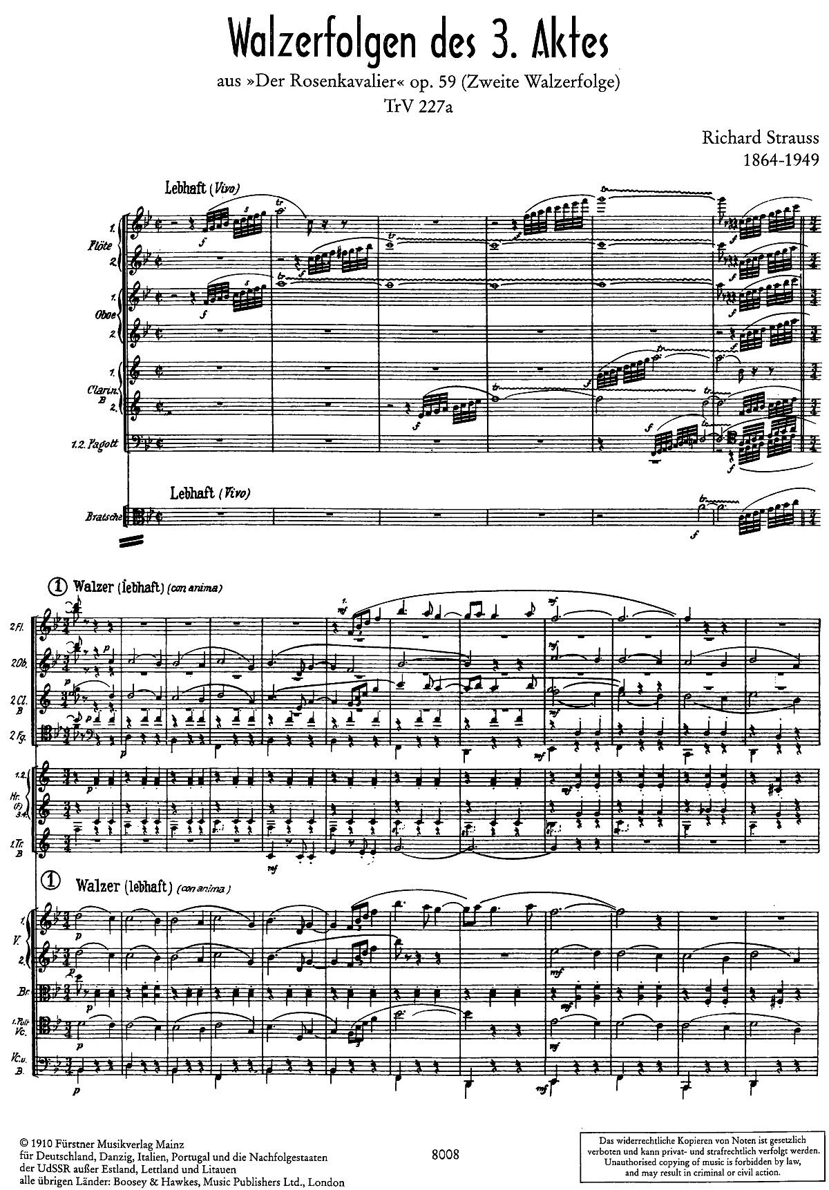 1ère page de la partition dans l'édition du «Adolph Fürstner, 1910, Plate A 8008, Mainz», Cliquer sur la photo pour une vue agrandie