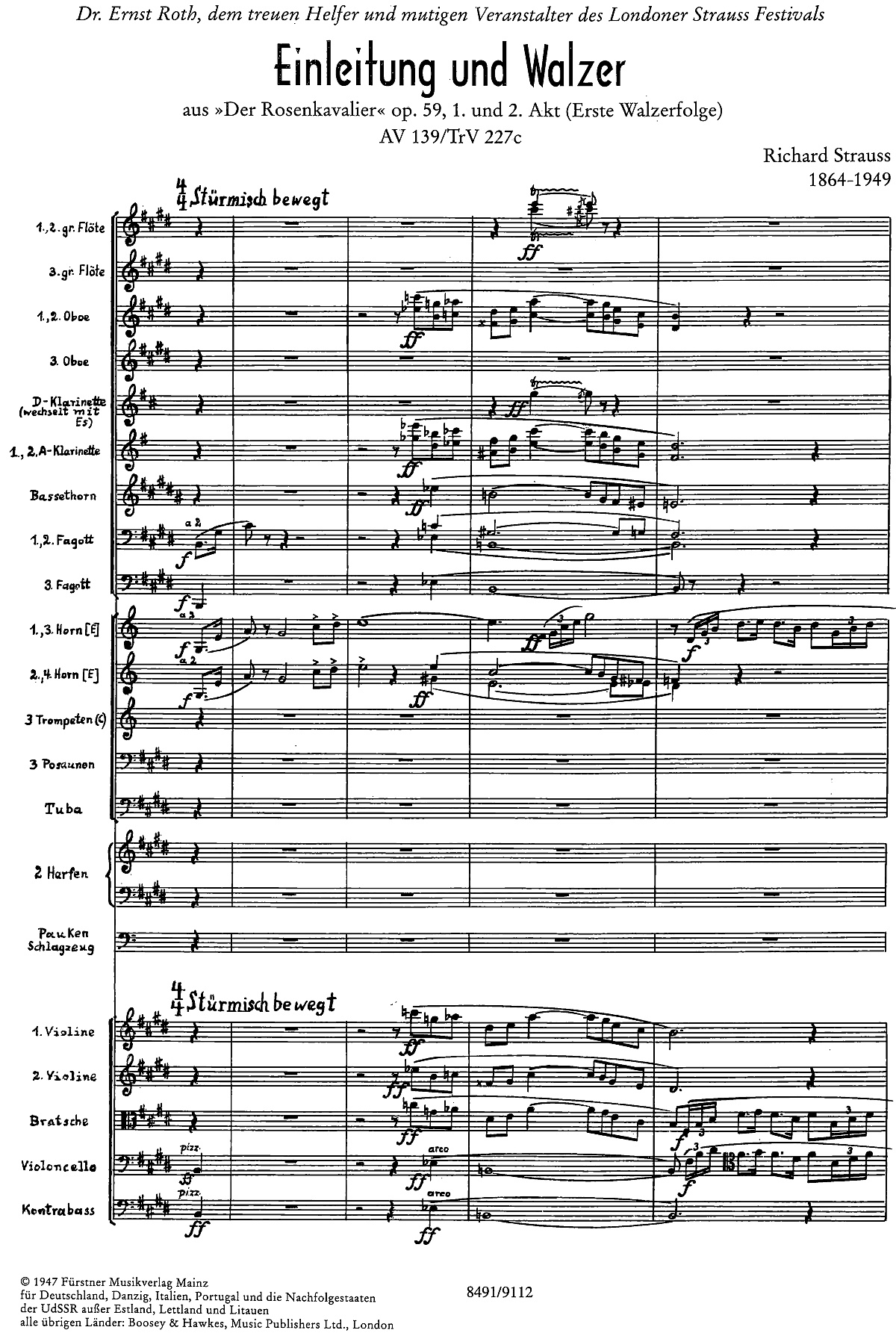 1ère page de la partition dans l'édition du «Fürstner Musikverlag, 1947, Plate 8491/9112, Mainz», Cliquer sur la photo pour une vue agrandie
