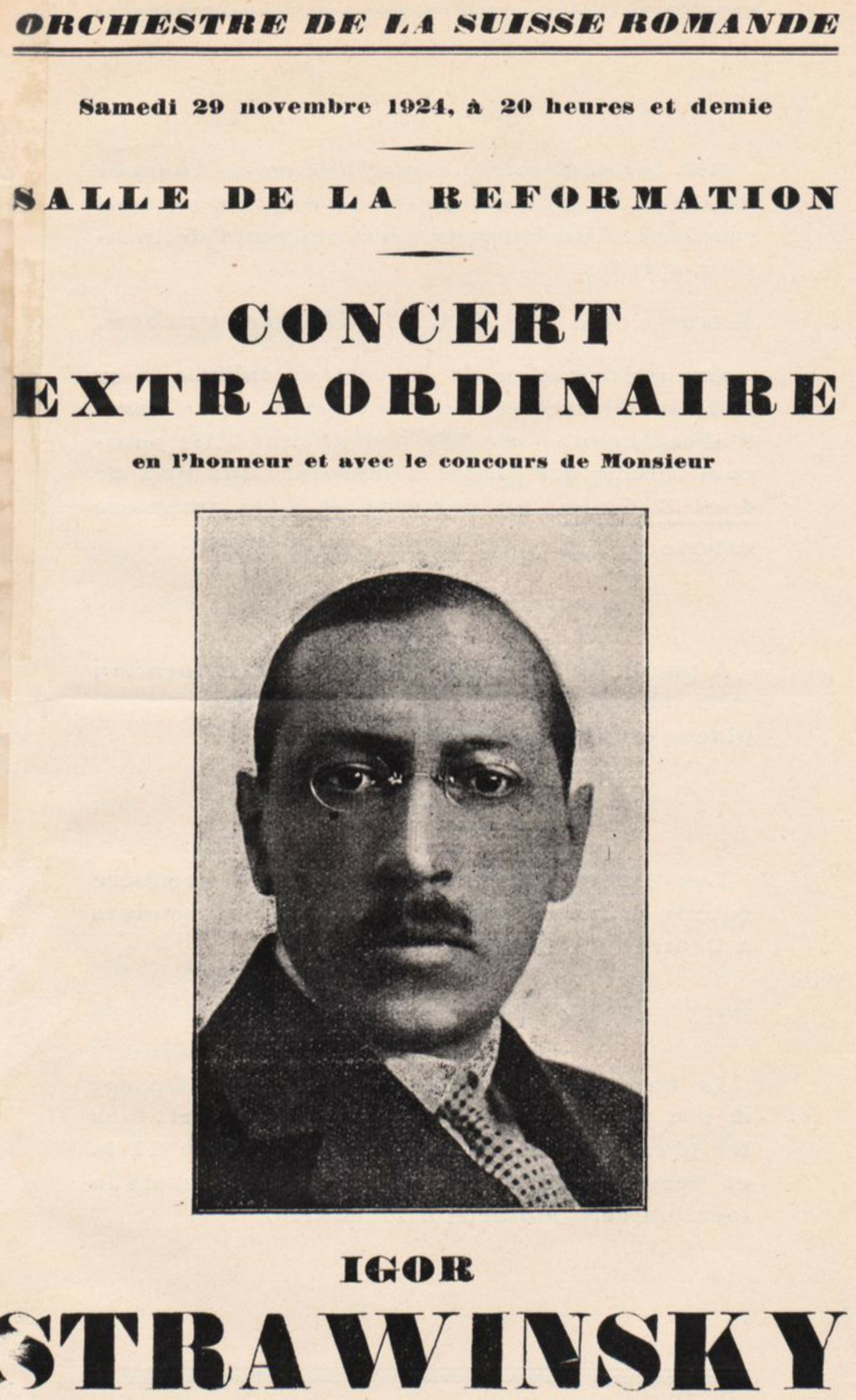 1ère page de la brochure d'annonce du concert