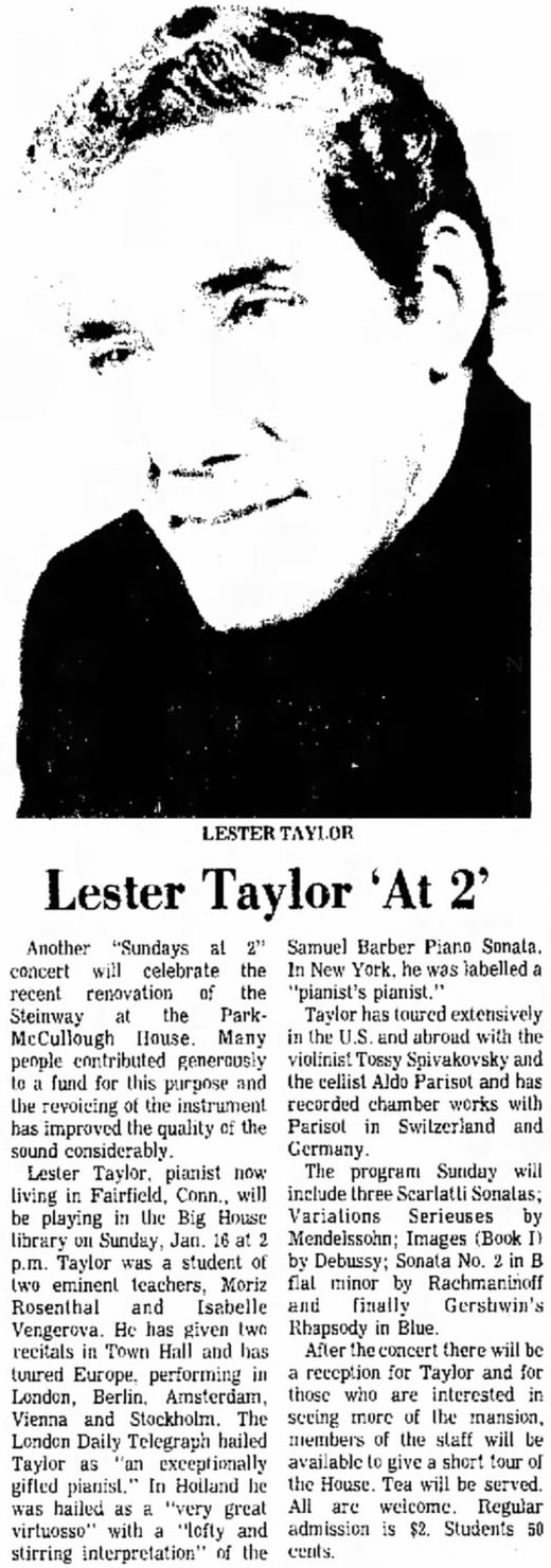 Lester Taylor, clipped from Bennington Banner, Bennington, Vermont, 10 Jan 1977, Mon, Page 12, https://www.newspapers.com/clip/594288/10jan1977/