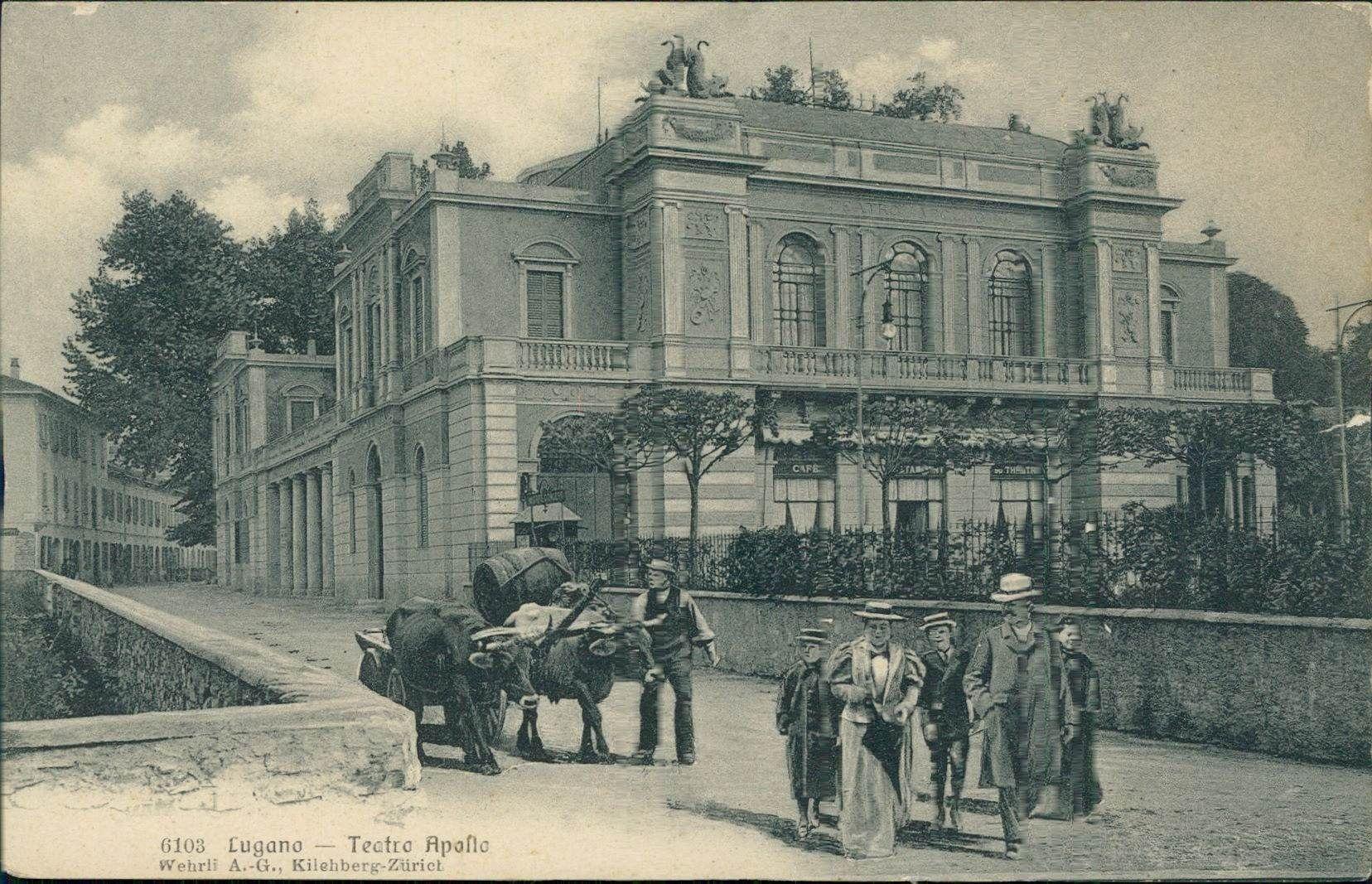 Carte postale, Vue antique du «Teatro Apollo» de Lugano