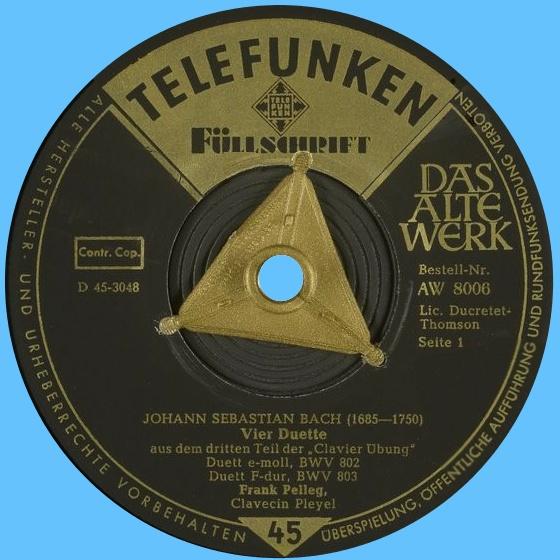 Étiquette recto du disque 45 tours Telefunken AW 8006