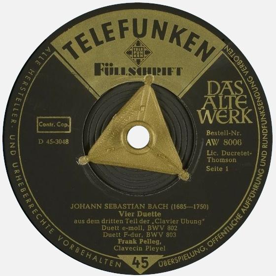 Étiquette recto du disque 45 tours Telefunken AW 8006, Cliquer sur la photo pour une vue agrandie et quelques infos
