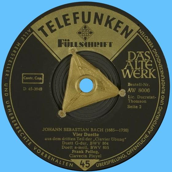 Étiquette verso du disque 45 tours Telefunken AW 8006