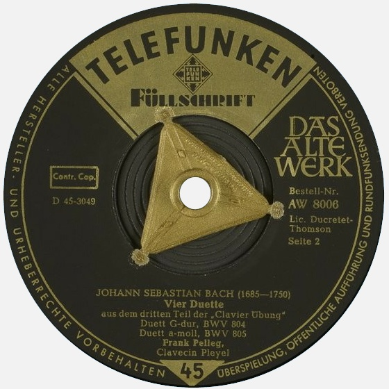 Étiquette verso du disque 45 tours Telefunken AW 8006, Cliquer sur la photo pour une vue agrandie et quelques infos