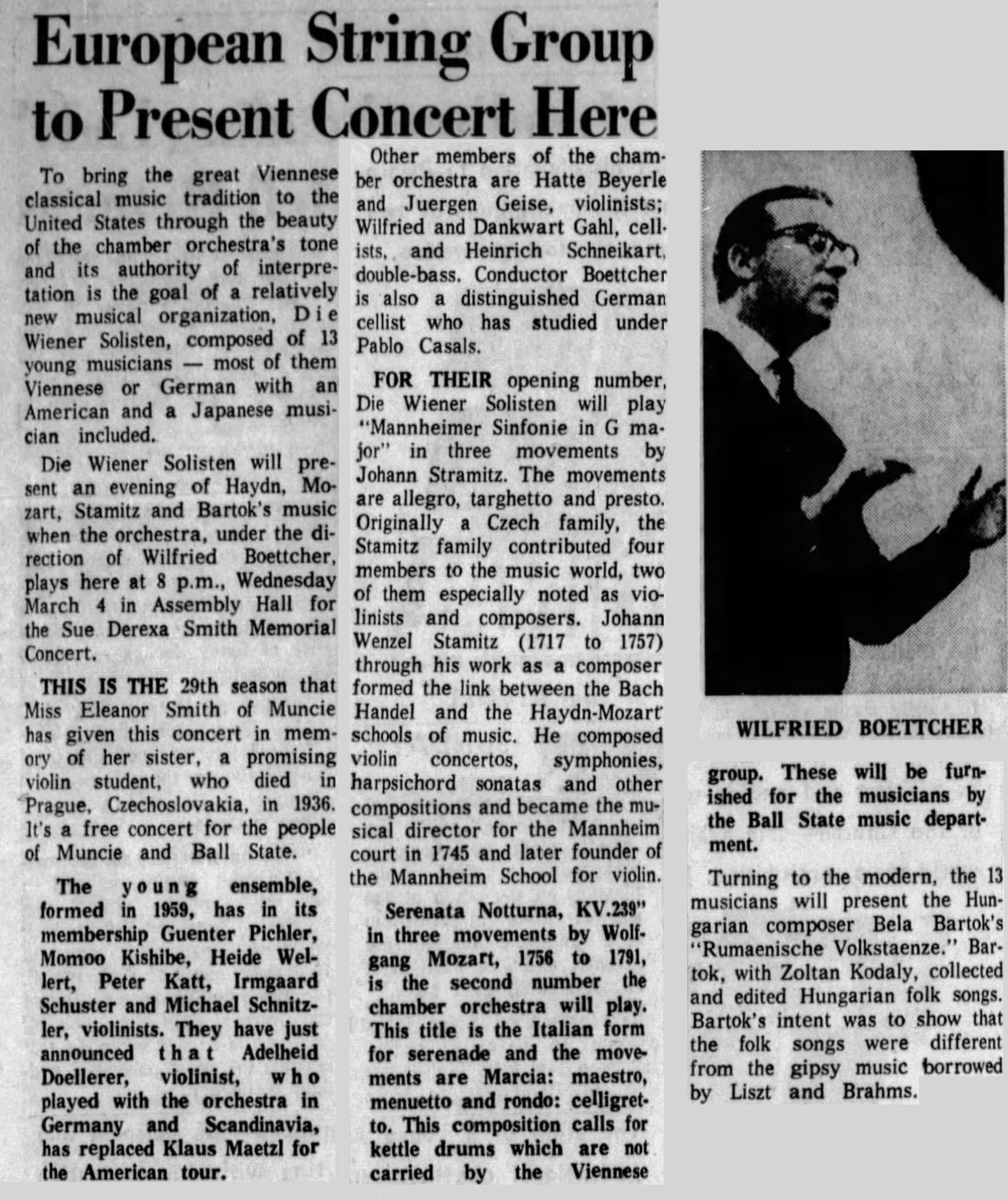 Extrait reformaté du quotidien The Star Press (Muncie, Indiana) du 1er mars 1964, en page 30