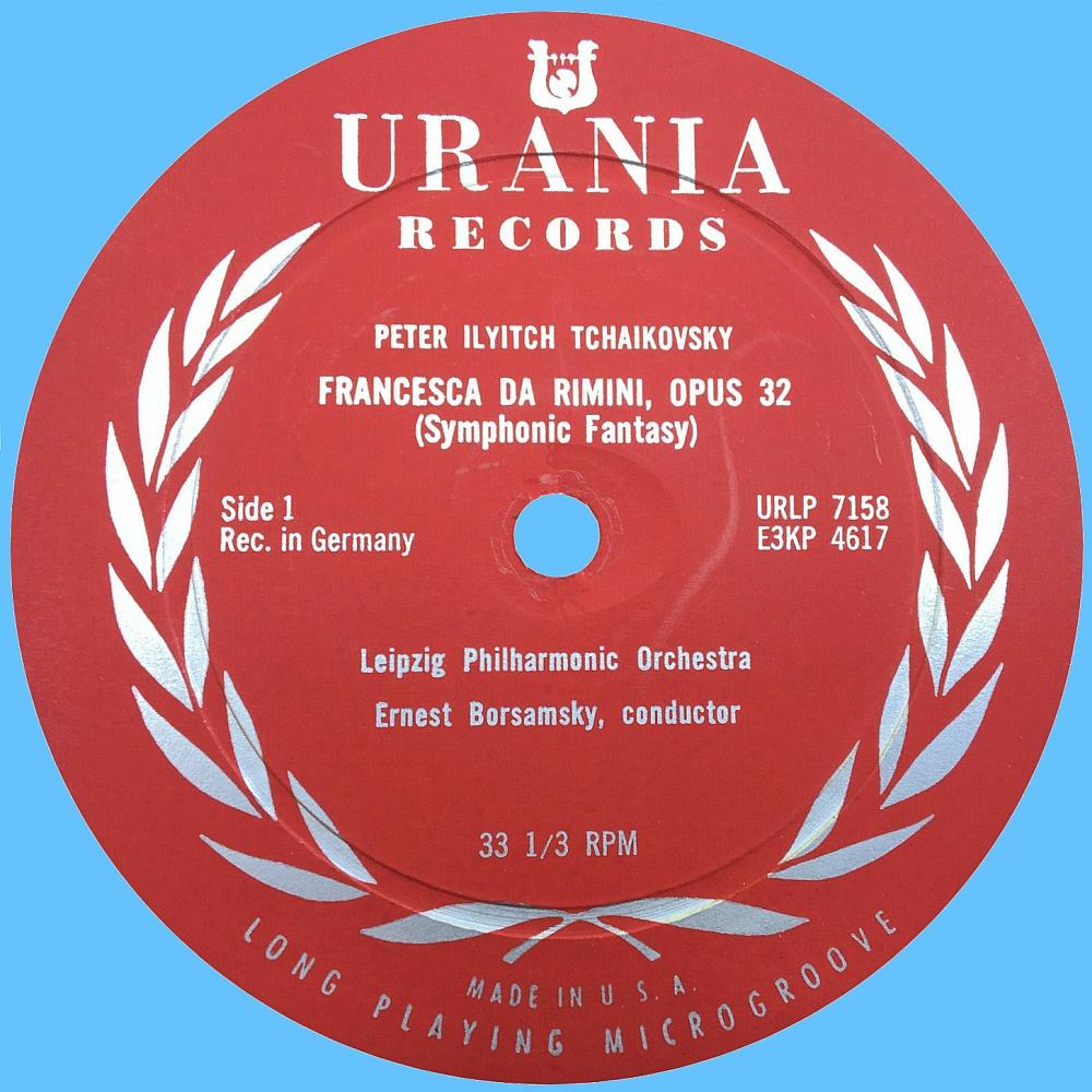 Étiquette du disque 33 tours 12pouces Urania URLP 7158