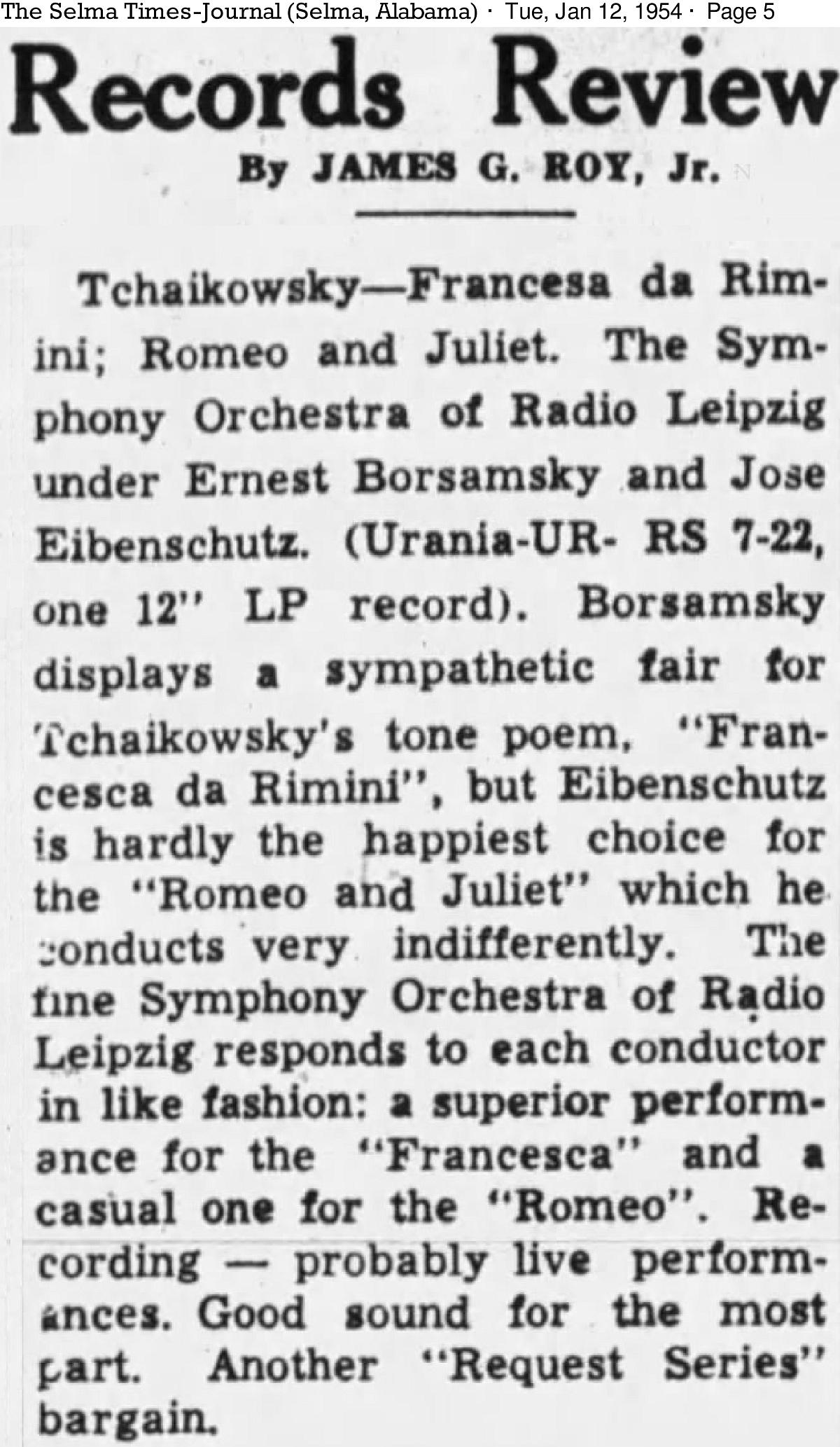 cité du quotidien «The Selma Times Journal» du 12 janvier 1954, page 5