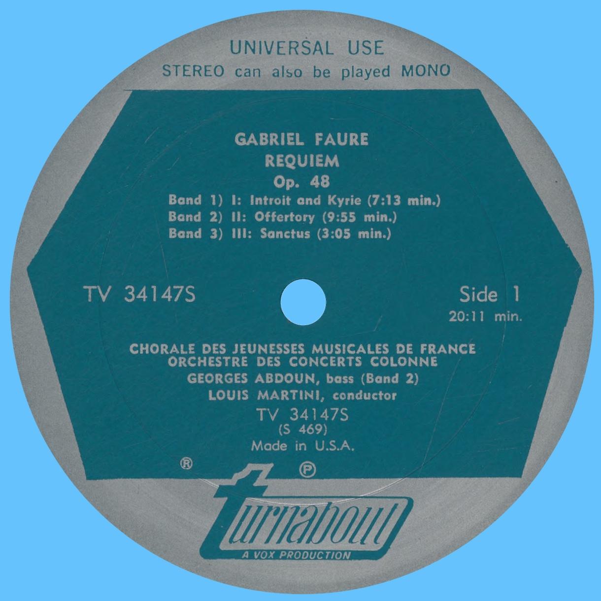 Étiquette recto du disque Turnabout VOX TV 34147S