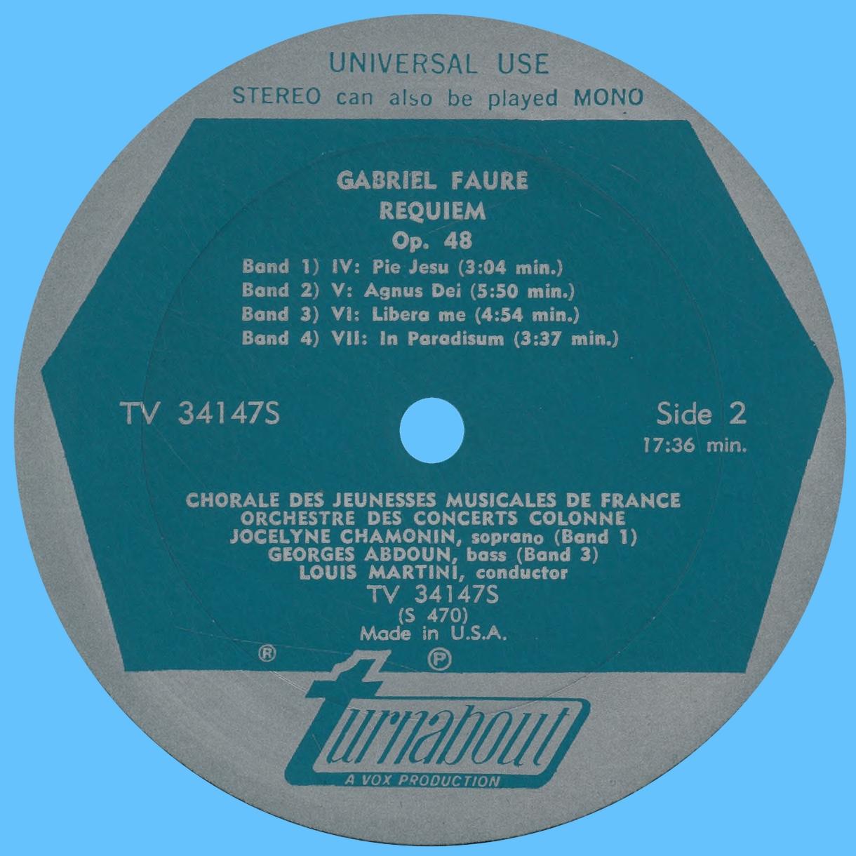 Étiquette verso du disque Turnabout VOX TV 34147S
