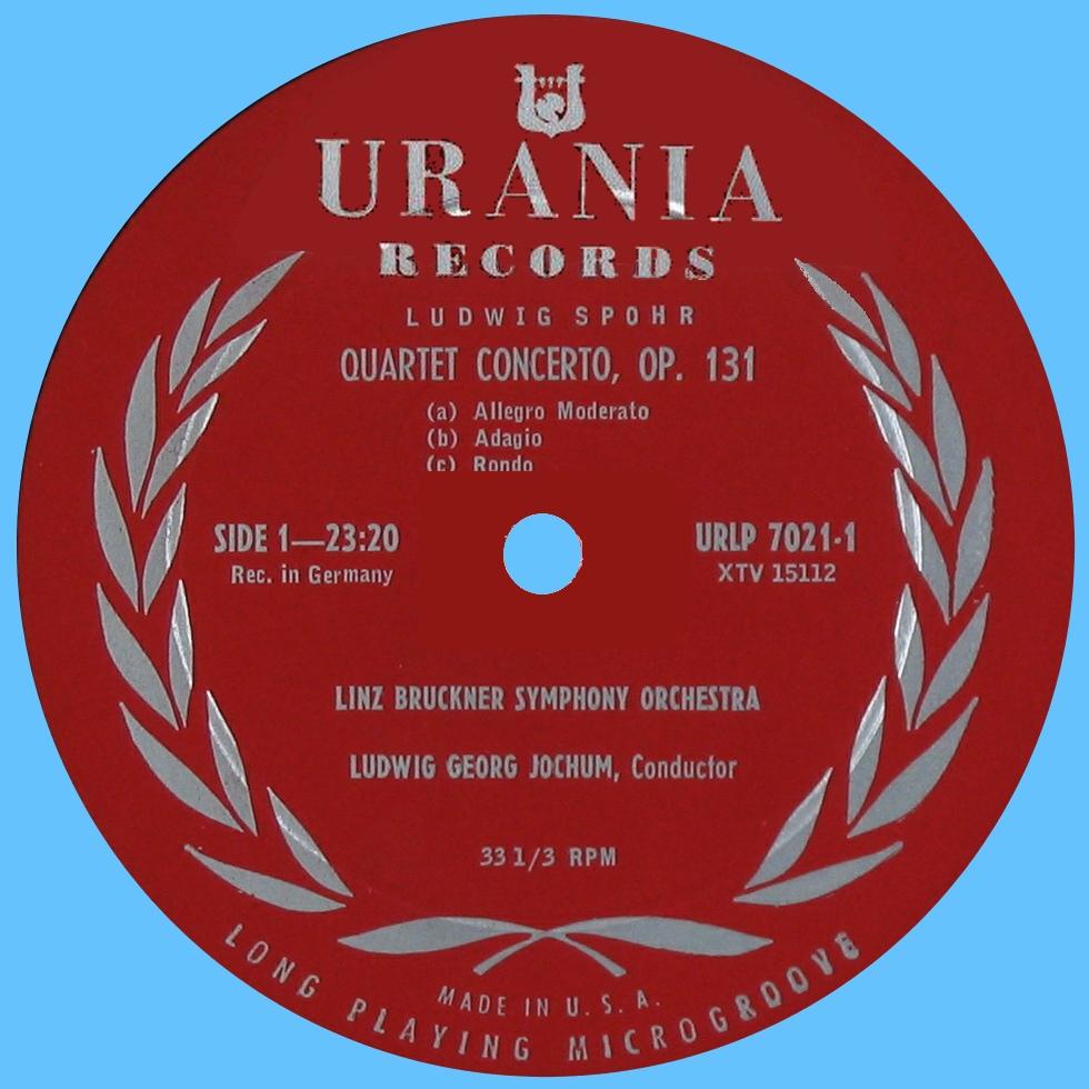 Étiquette recto du disque Urania URLP 7202