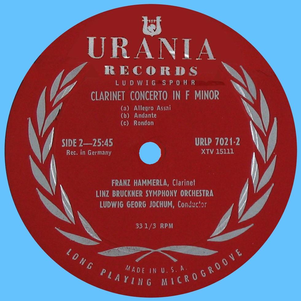 Étiquette verso du disque Urania URLP 7202