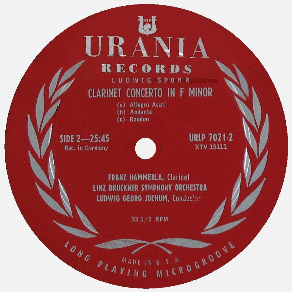 Étiquette verso du disque Urania URLP 7202, Cliquer sur la photo pour une vue agrandie