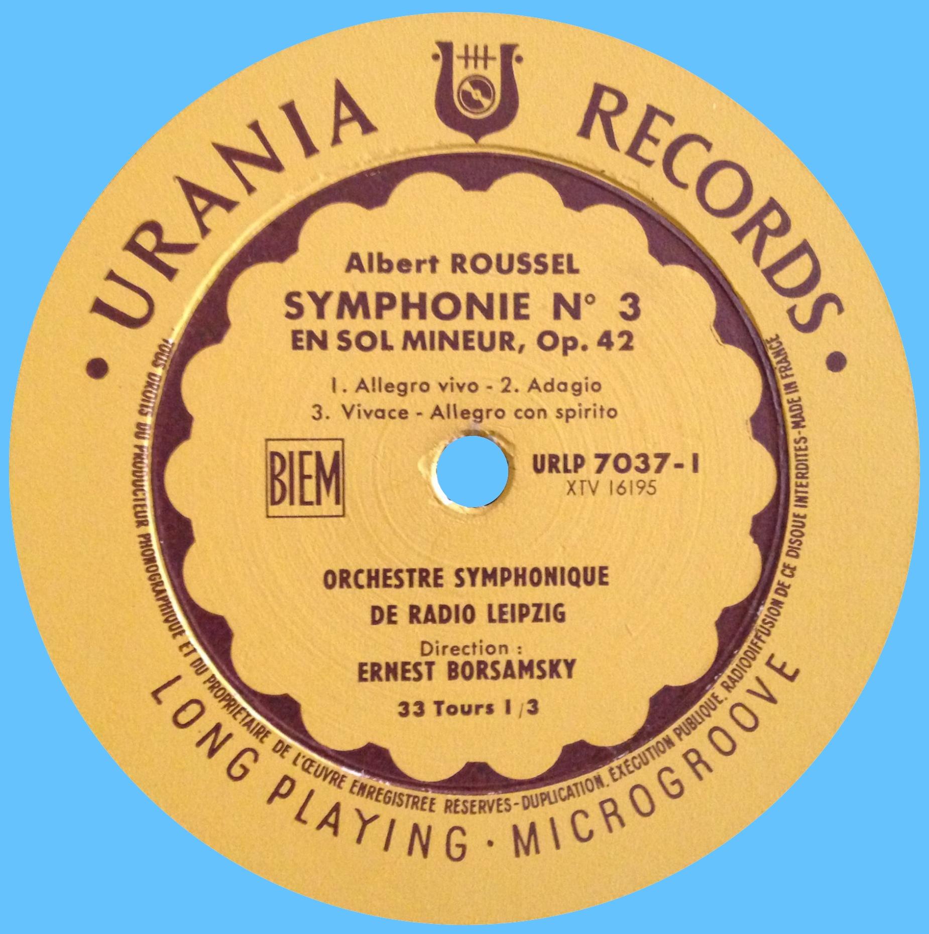Étiquette recto du disque Urania URLP 7037