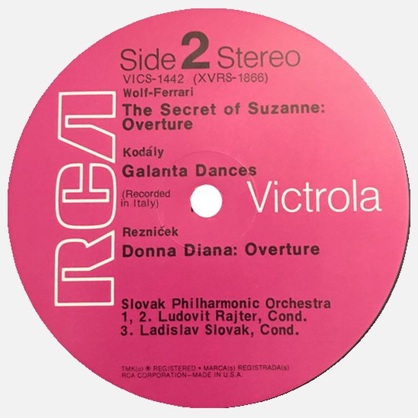 Étiquette verso du disque RCA Victrola VICS 1442, Cliquer sur la photo pour une vue agrandie