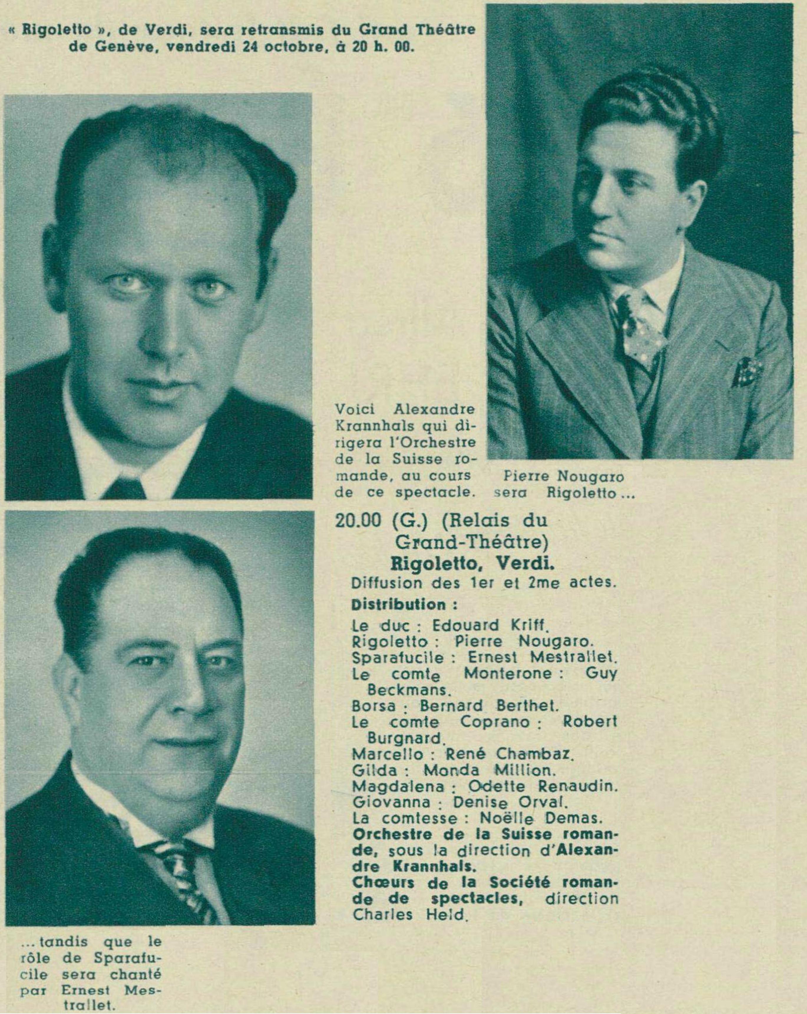 Photo-montage d'extraits des pages 1324 et 1338 de la revue Radio Actualités du 17 octobre 1941, No 42