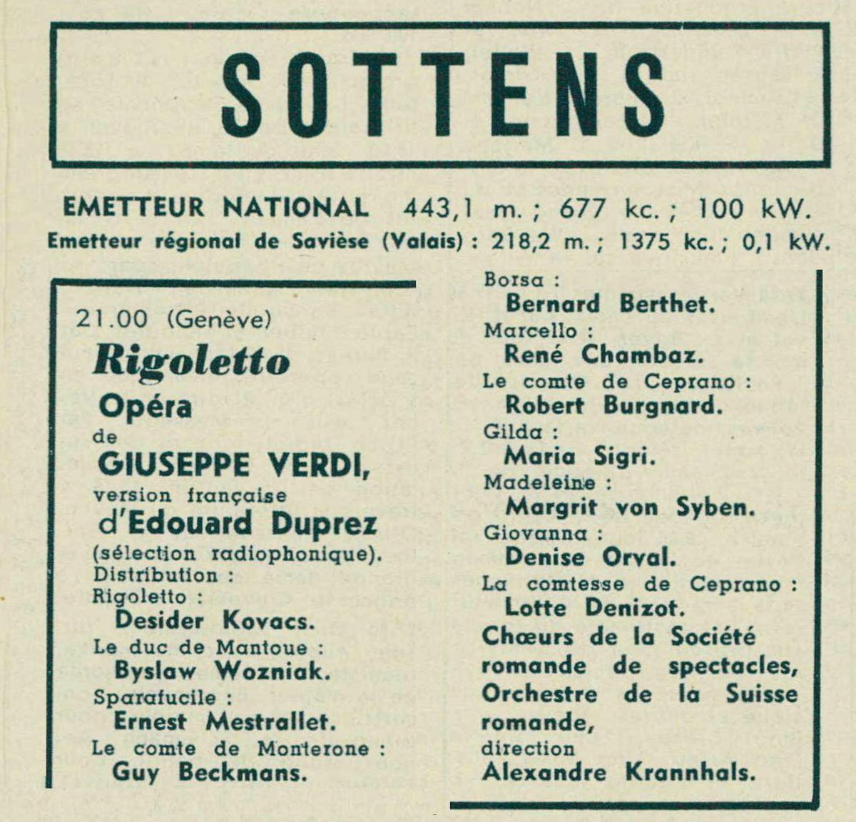 Photo-montage réalisé sur la base du programme radio publié en page 1211 de la revue Radio Actualités du 19 août 1949