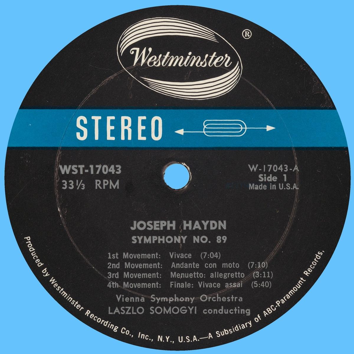 Étiquette recto du disque Westminster WST 17043