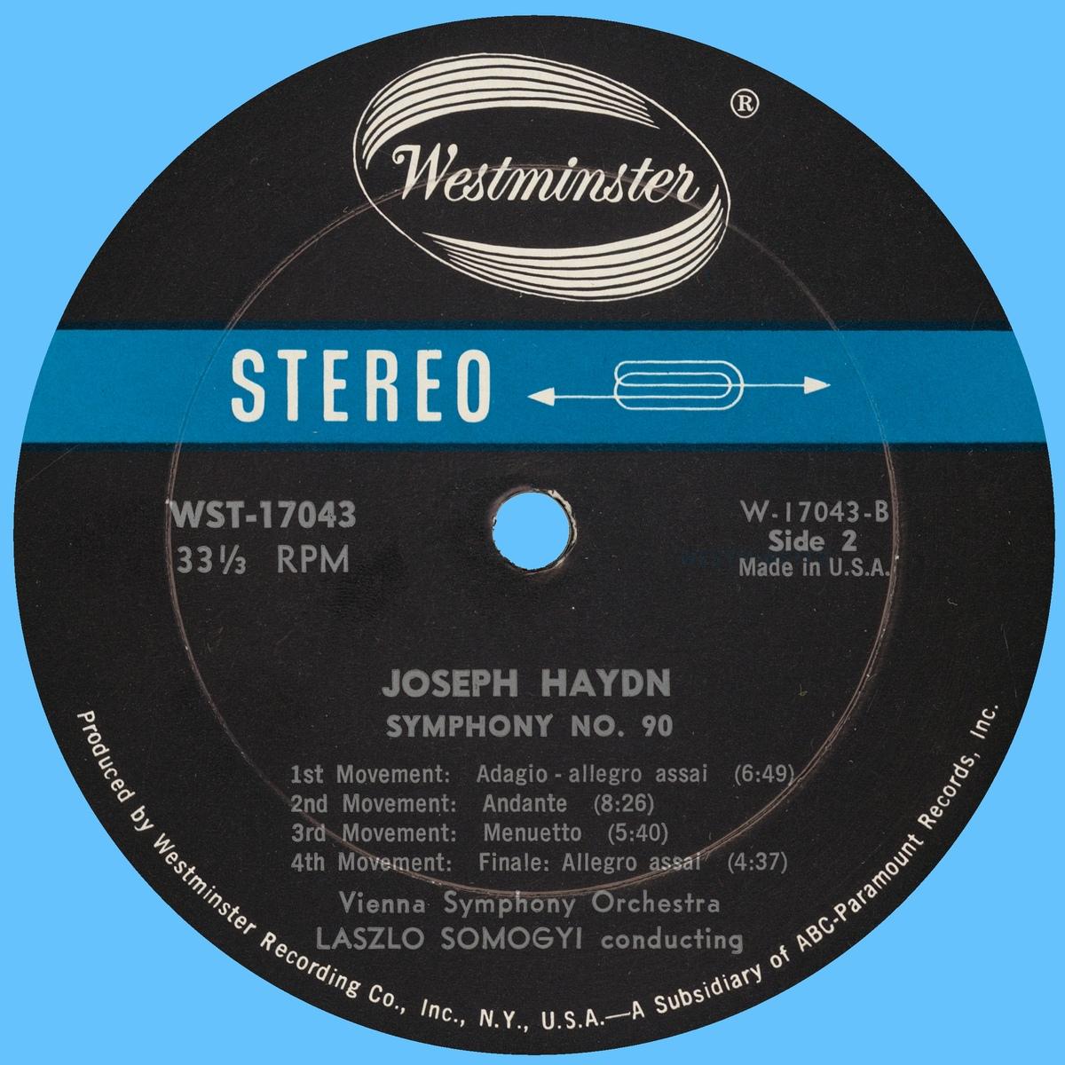 Étiquette verso du disque Westminster WST 17043