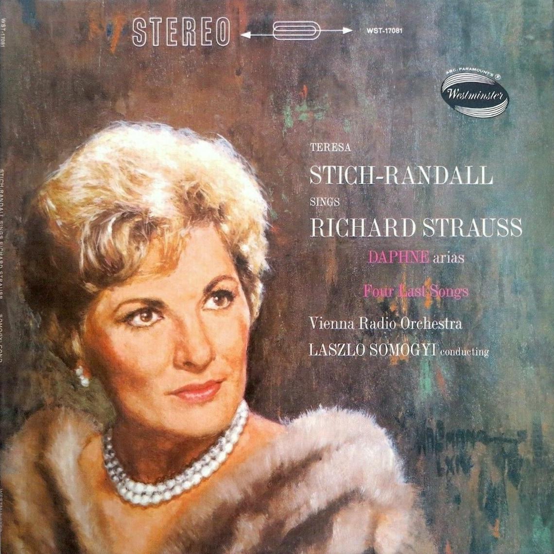 Teresa STICH-RANDALL sur le recto de la pochette du disque Westminster WST 17081