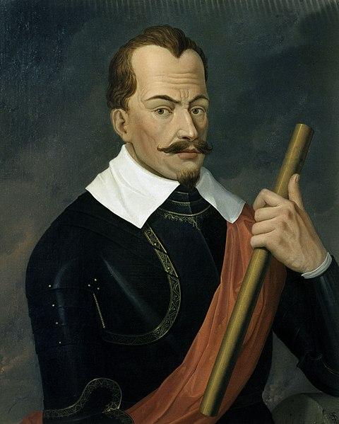 Albrecht Eusebius Wenzel von Wallenstein, Herzog von Friedland and Mecklenburg. Gemälde von Anthony Van Dyck, 1629; befindet sich in der Bayerischen Staatsgemäldesammlungen, München