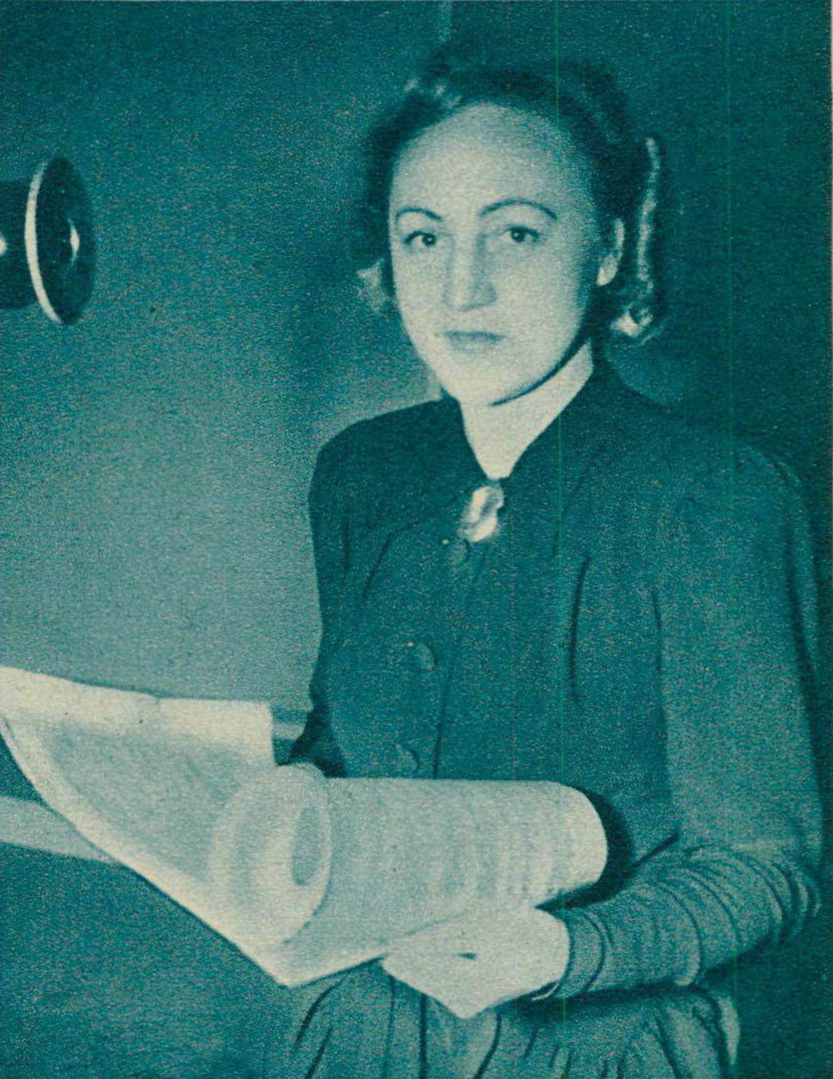 Flore WEND vers 1942, un portrait publié entre autres dans Radio Actualités du 20 novembre 1942, No 47, page 1481, cliquer pour une vue agrandie
