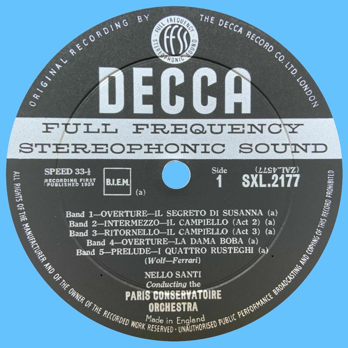 Étiquette recto du disque SXL 2177