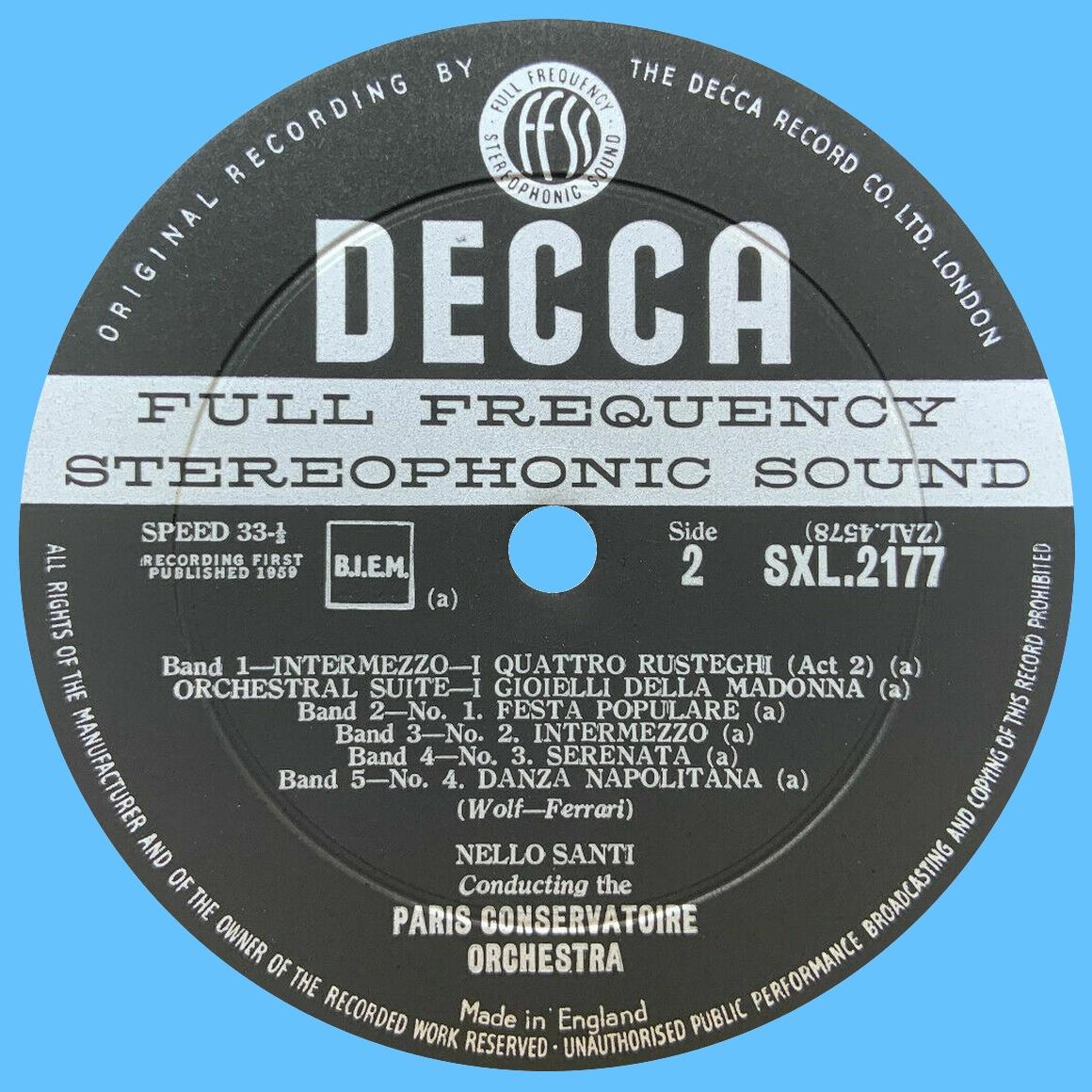 Étiquette verso du disque SXL 2177