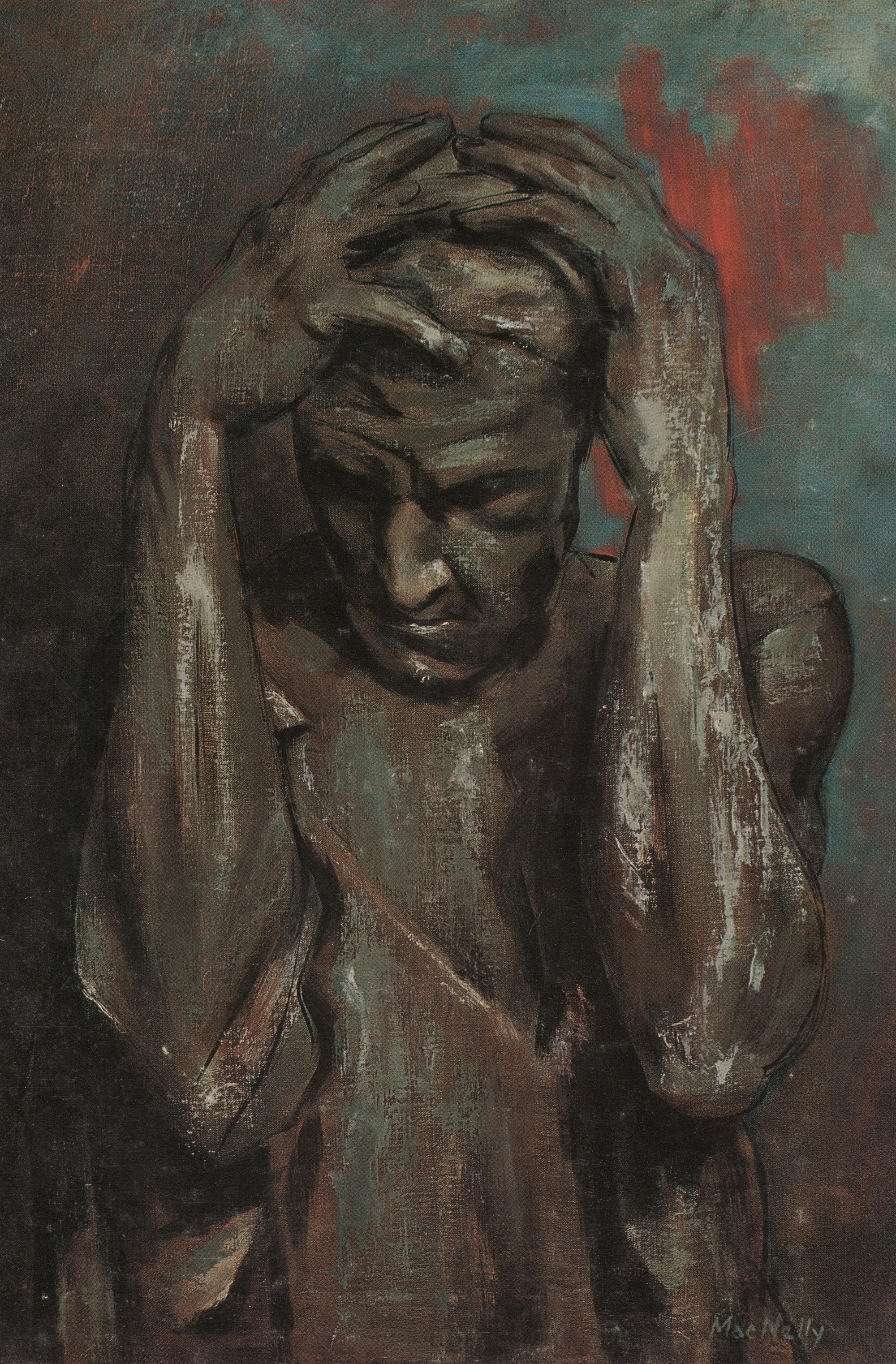 Peinture de C.L.MacNelly d'après les Bourgeois de Calais de Rodin
