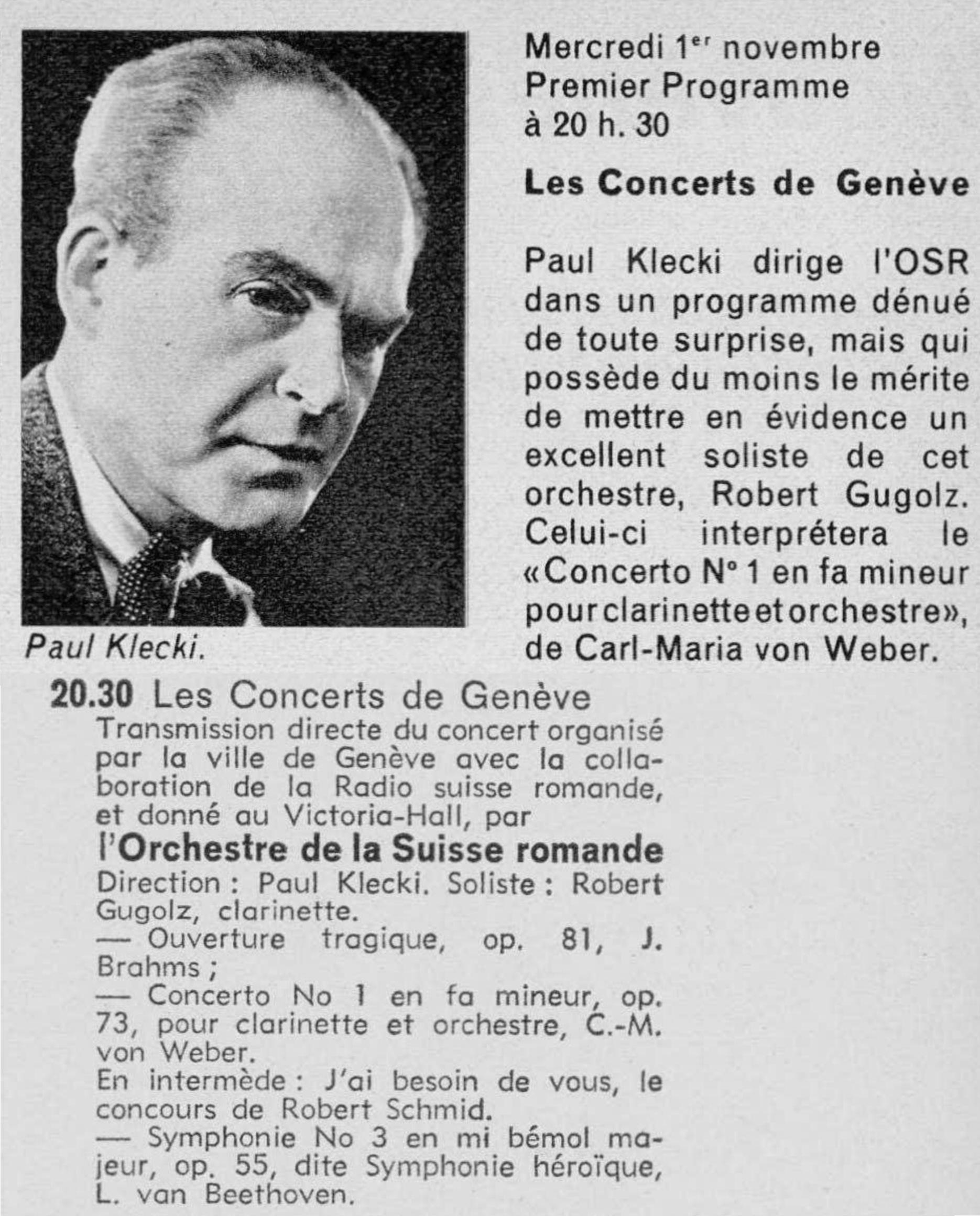 Concert du 1er novembre 1967, annonces dans la revue Radio TV - Je vois tout du 26 octobre 1967, pages 51 et VII, cliquer pour plus d'infos