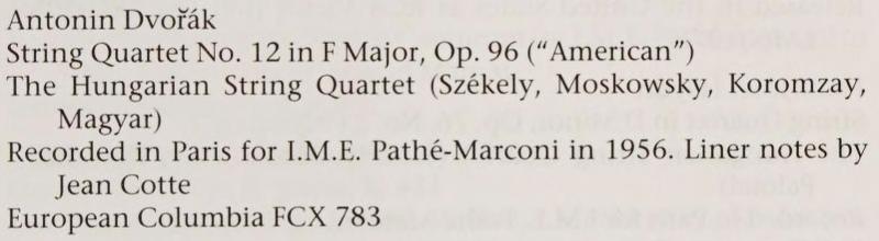 extrait de la discographie de l'ouvrage de Claude KENESSON «Szekely and Bartok: The Story of a Friendship»