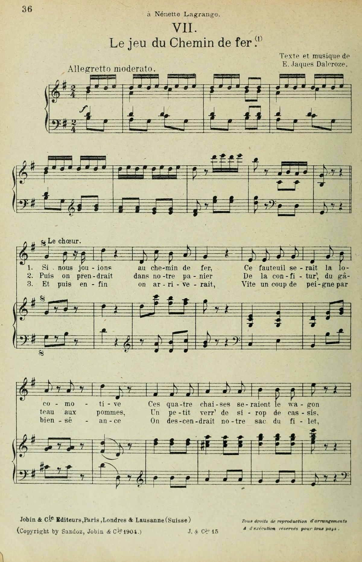 Extrait 1 de la partition publiée dans le recueil «<i>Chansons d'Enfants</i>», Op. 42