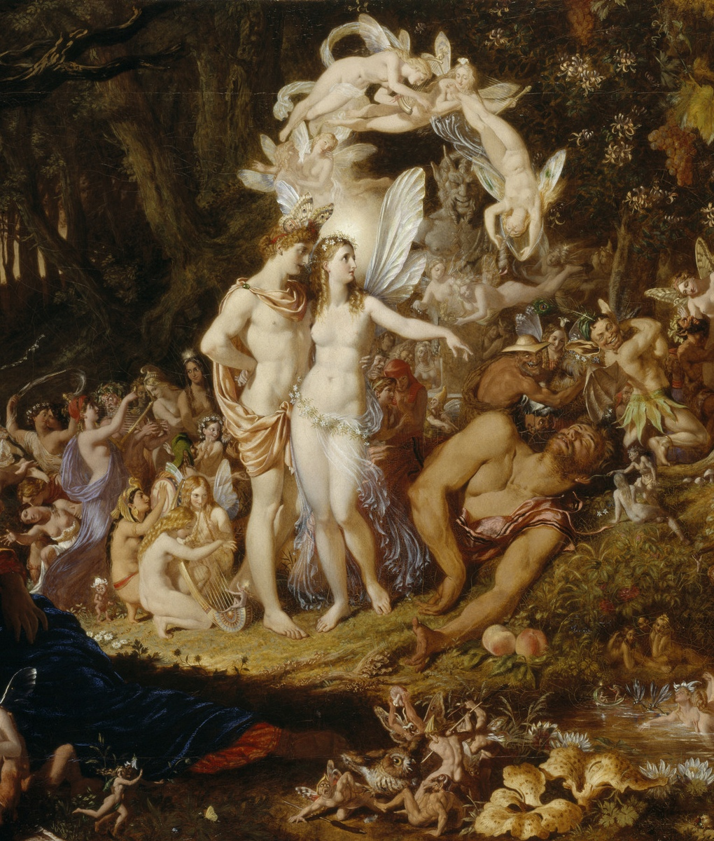 Obéron et Titania, son épouse - Extrait d'une oeuvre de Sir Joseph Noel Paton, «The Reconciliation of Oberon and Titania», 1847, NG 294, National Galleries Scotland, cliquer pour plus d'infos